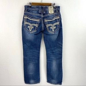 Rock Revival Jason Relaxed Straight Blue Jeans 32